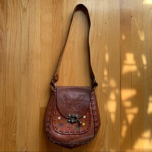 Vintage Leather Butterfly Bag